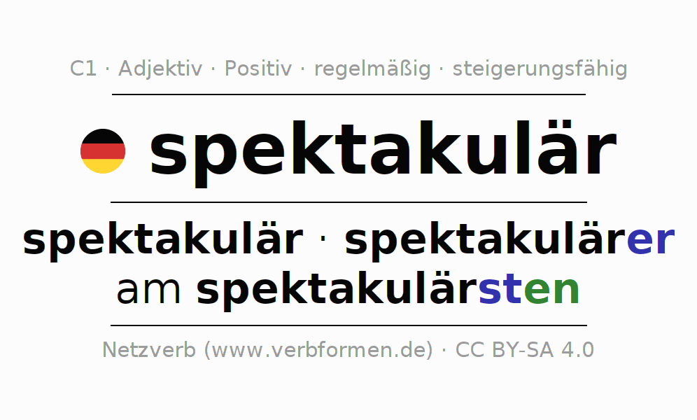 Deklination spektakulär | Alle Formen, Steigerung, Tabellen ...