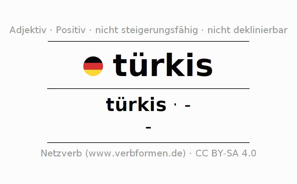 Deklination   türkis   Alle Formen, Steigerung, Tabellen und Downloads