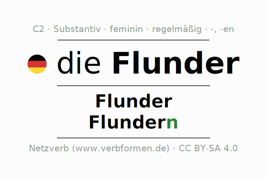 Deklination | Flunder | Alle Formen, Plural, Regeln und Downloads