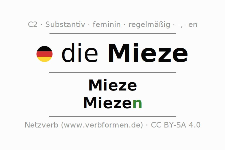 Deklination   Mieze   Alle Formen, Plural, Regeln und Downloads