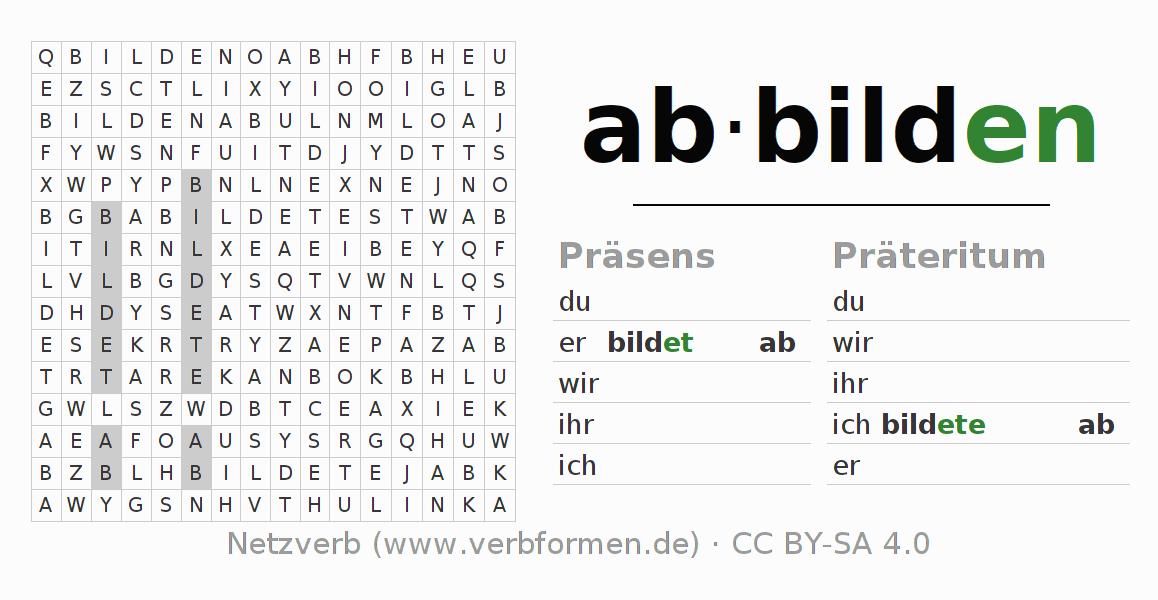 Arbeitsblätter | Verb abbilden | Übungen zur Konjugation deutscher ...