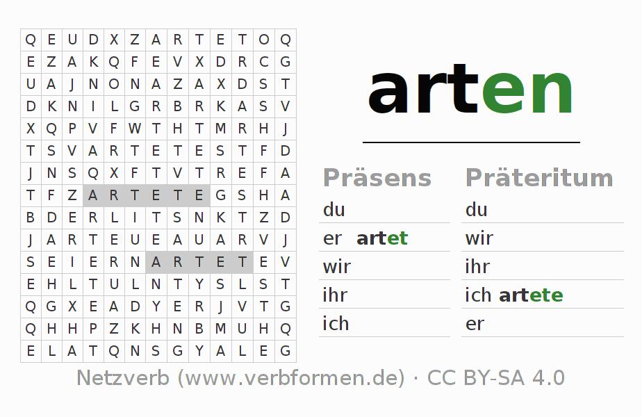 Arbeitsblätter | Verb arten | Übungen zur Konjugation deutscher ...