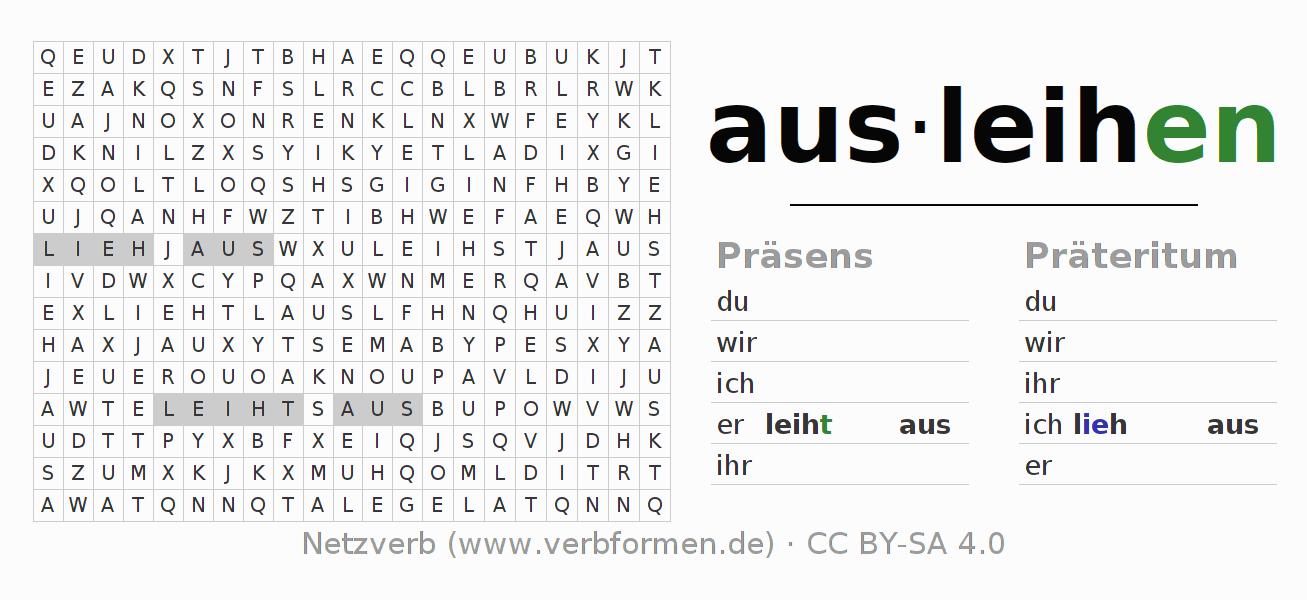 Arbeitsblätter | Verb ausleihen | Übungen zur Konjugation deutscher ...