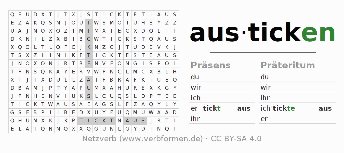 Wortsuchrätsel   Verb austicken   Suchsel zur Konjugation deutscher ...