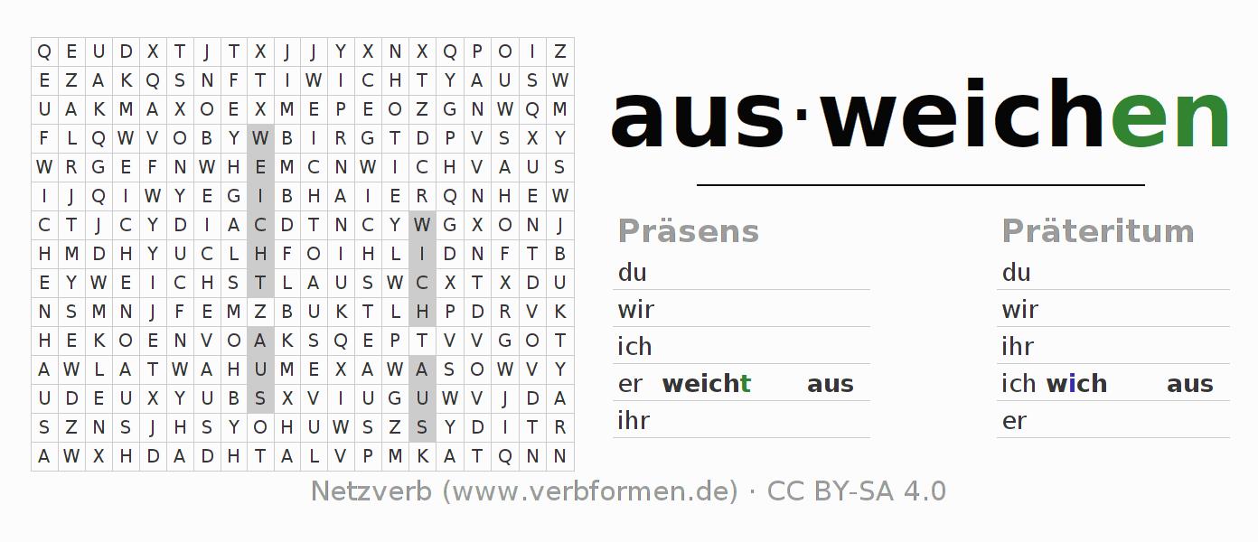 Arbeitsblätter | Verb ausweichen | Übungen zur Konjugation deutscher ...