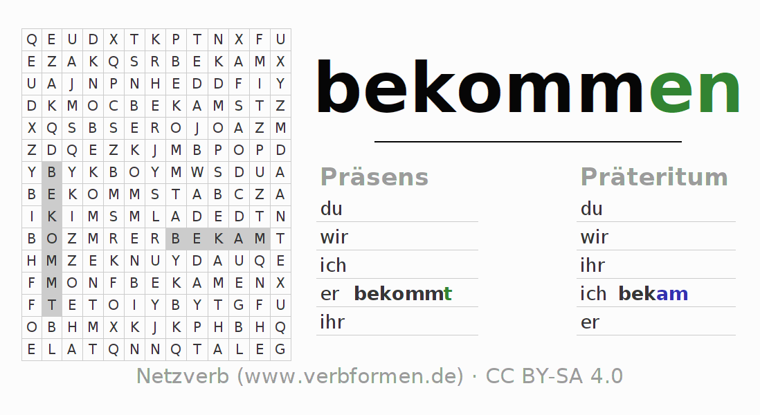 arbeitsbl tter verb bekommen bungen zur konjugation deutscher verben netzverb. Black Bedroom Furniture Sets. Home Design Ideas
