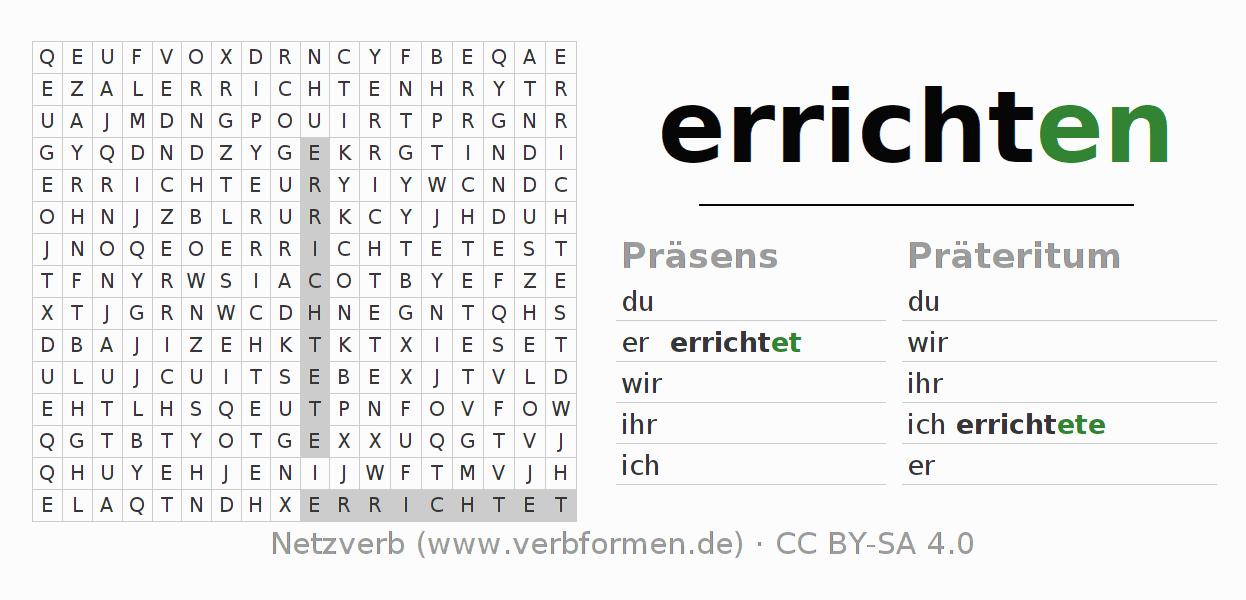 Wortsuchrätsel   Verb errichten   Suchsel zur Konjugation deutscher ...