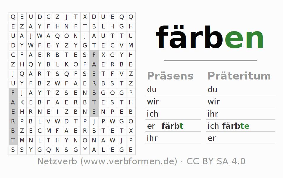 Arbeitsblätter | Verb färben | Übungen zur Konjugation deutscher ...