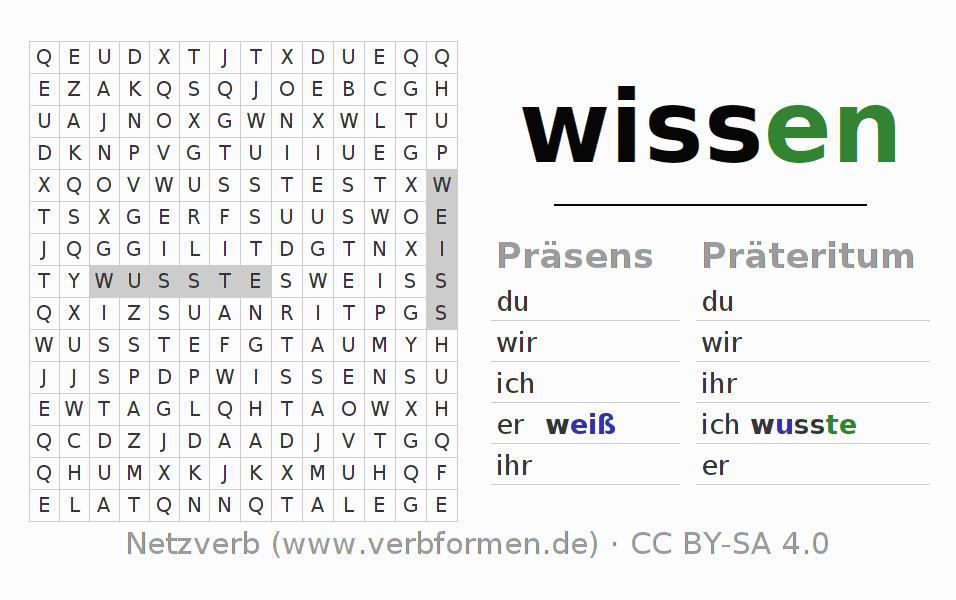 Wortsuchrätsel   Verb wissen   Suchsel zur Konjugation deutscher ...