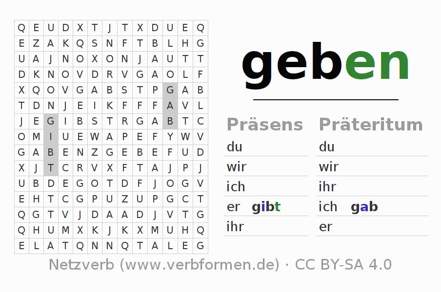 konjugation geben deutsche verben konjugieren netzverb. Black Bedroom Furniture Sets. Home Design Ideas