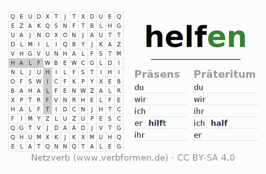 Arbeitsblätter | Verb helfen | Übungen zur Konjugation deutscher ...