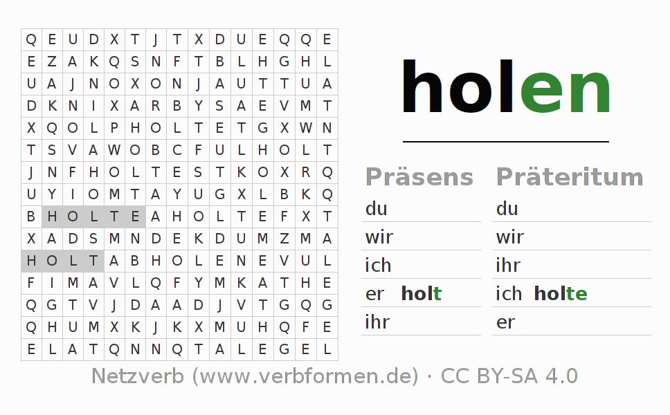 Arbeitsblätter | Verb holen | Übungen zur Konjugation deutscher ...