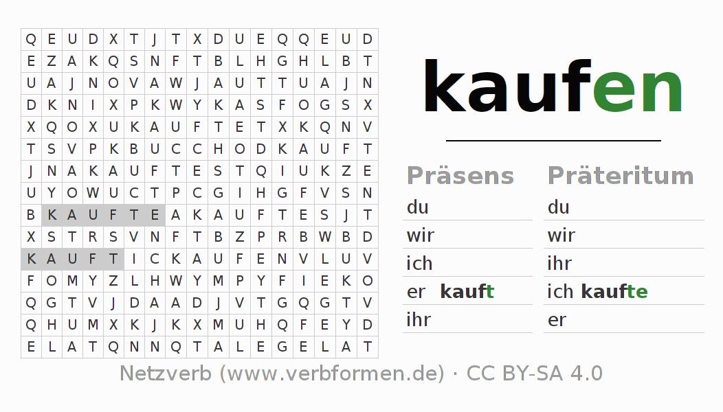 Arbeitsblätter | Verb kaufen | Übungen zur Konjugation deutscher ...