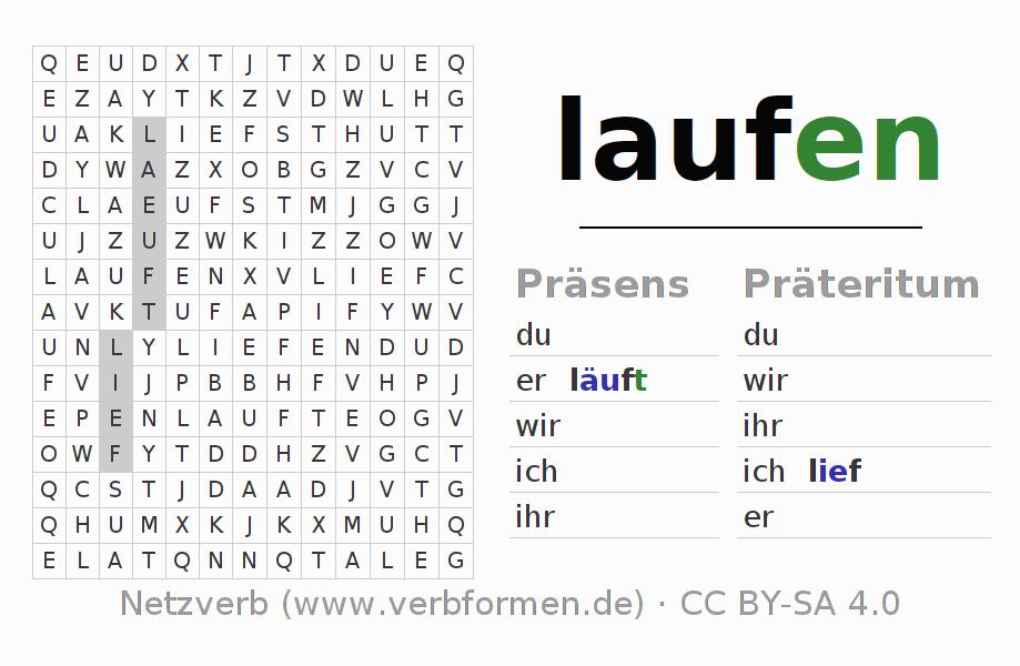 Wortsuchrätsel | Verb laufen | Suchsel zur Konjugation deutscher ...