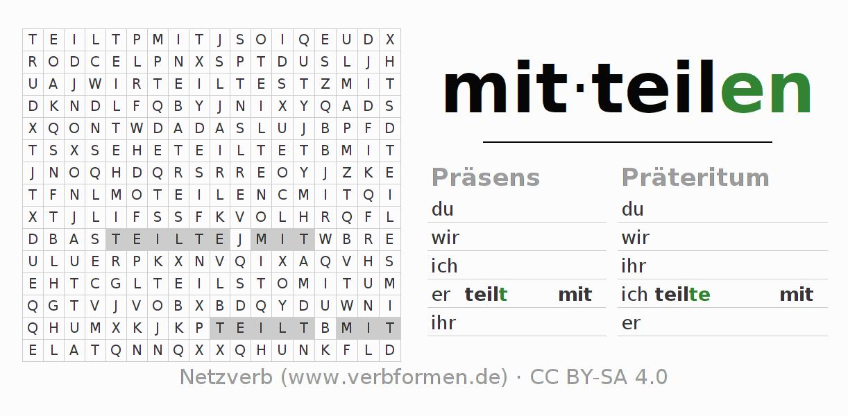 Arbeitsblätter | Verb mitteilen | Übungen zur Konjugation deutscher ...
