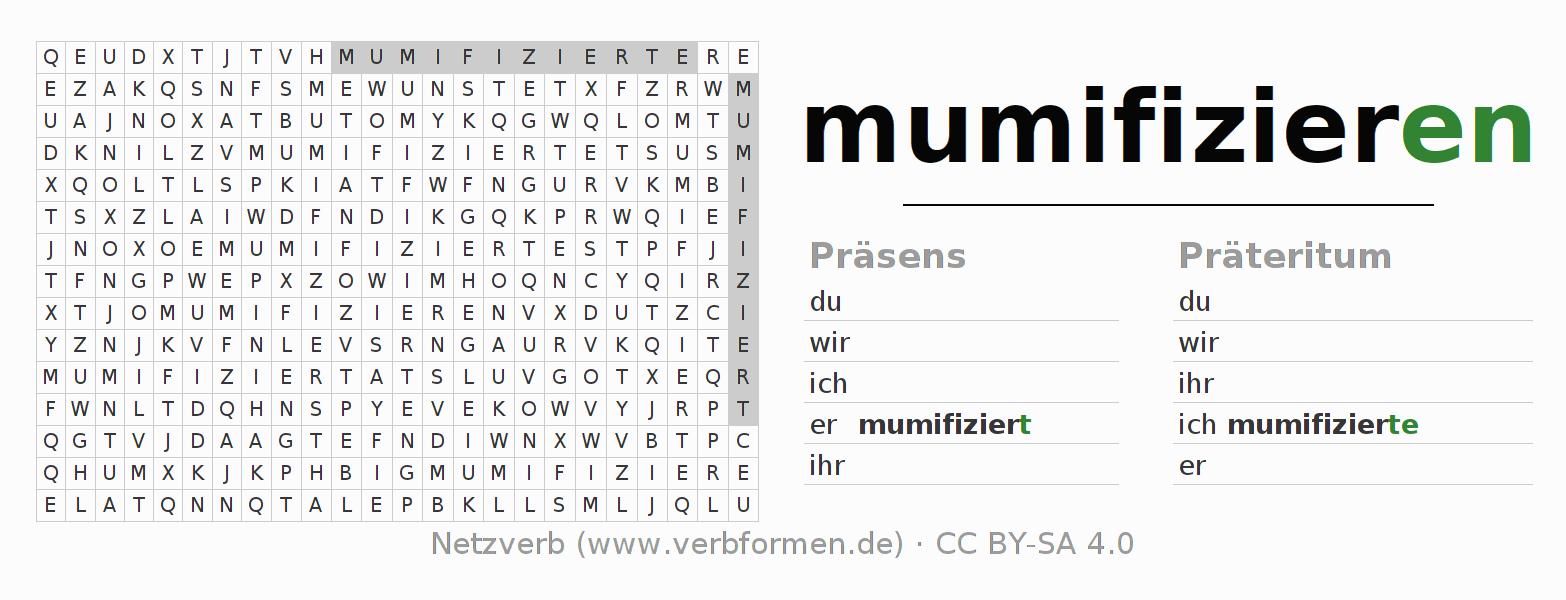 arbeitsbl tter verb mumifizieren bungen zur konjugation deutscher verben netzverb. Black Bedroom Furniture Sets. Home Design Ideas