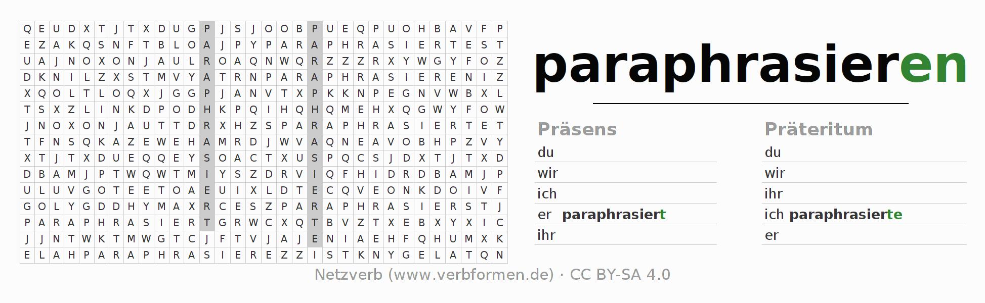 Arbeitsblätter | Verb paraphrasieren | Übungen zur Konjugation ...