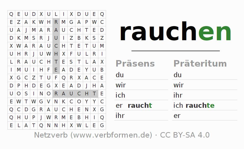 Arbeitsblätter | Verb rauchen | Übungen zur Konjugation deutscher ...