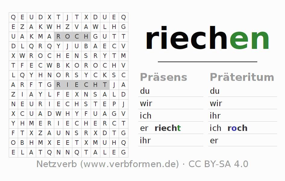 Arbeitsblätter | Verb riechen | Übungen zur Konjugation deutscher ...