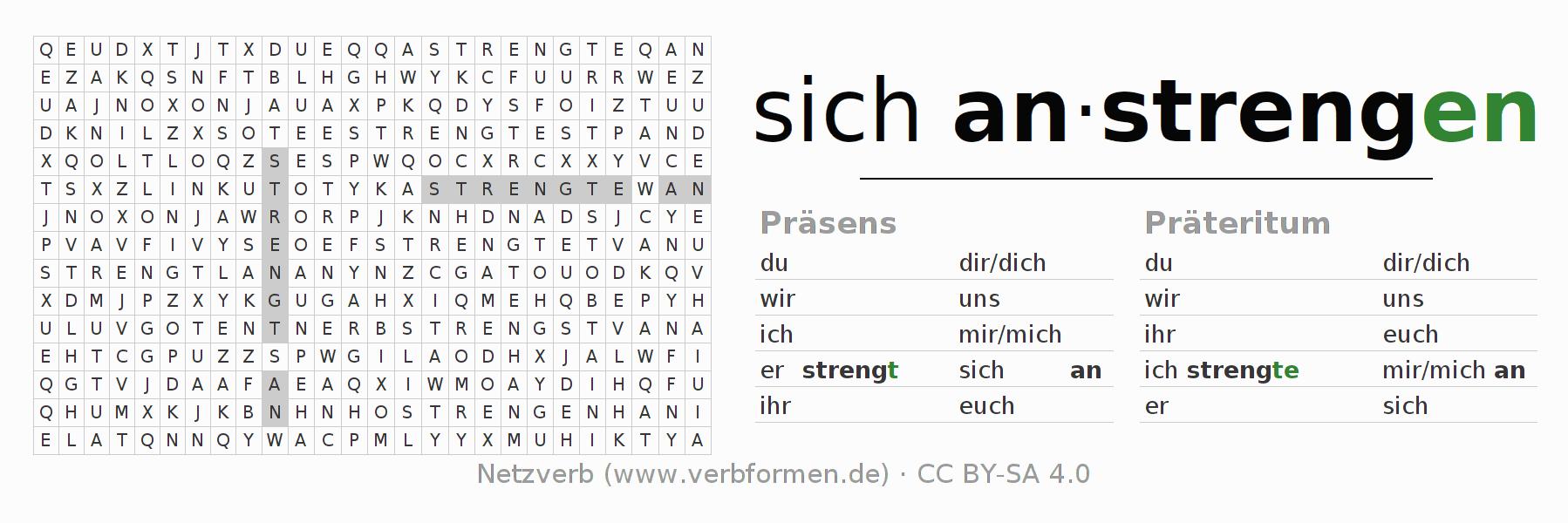 arbeitsbl tter verb sich anstrengen bungen zur konjugation deutscher verben netzverb. Black Bedroom Furniture Sets. Home Design Ideas