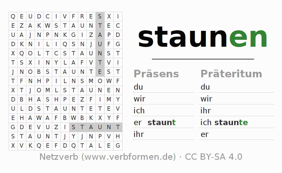 Arbeitsblätter | Verb staunen | Übungen zur Konjugation deutscher ...
