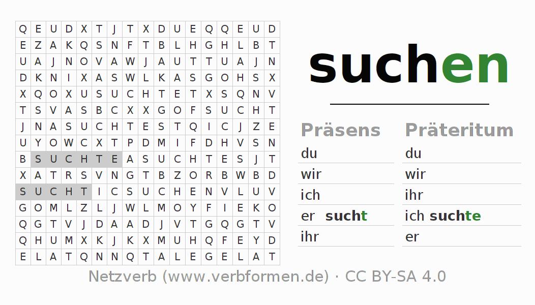 Arbeitsblätter | Verb suchen | Übungen zur Konjugation deutscher ...