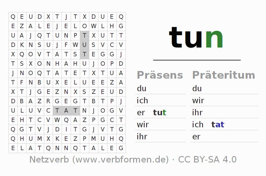 konjugation tun deutsche verben konjugieren netzverb. Black Bedroom Furniture Sets. Home Design Ideas