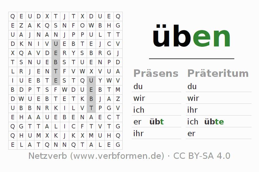 arbeitsbl tter verb ben bungen zur konjugation deutscher verben netzverb. Black Bedroom Furniture Sets. Home Design Ideas