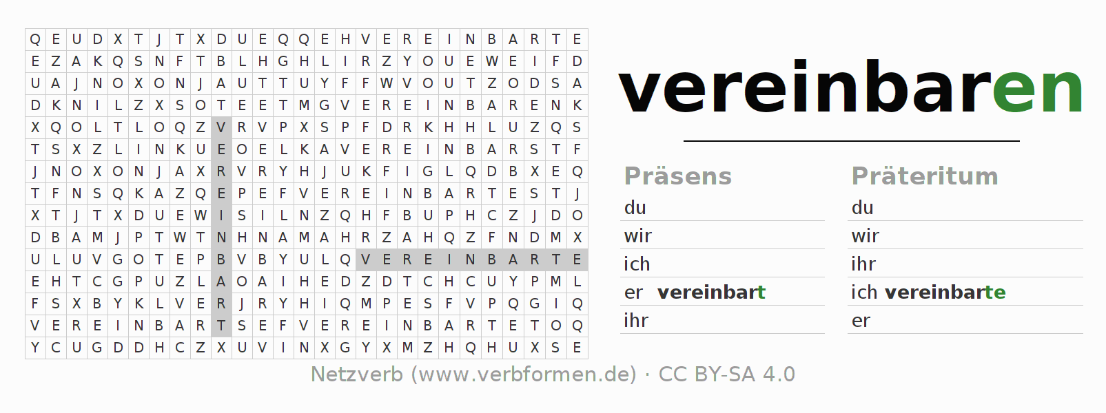 Arbeitsblätter   Verb vereinbaren   Übungen zur Konjugation ...