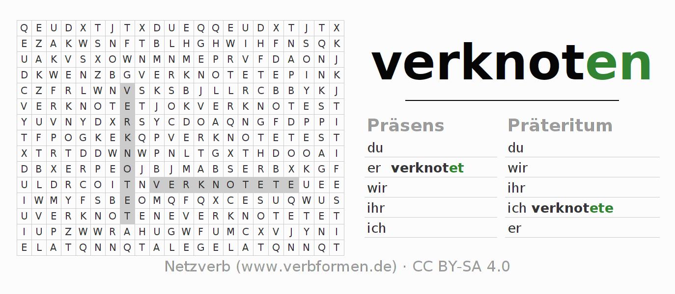 Arbeitsblätter | Verb verknoten | Übungen zur Konjugation deutscher ...