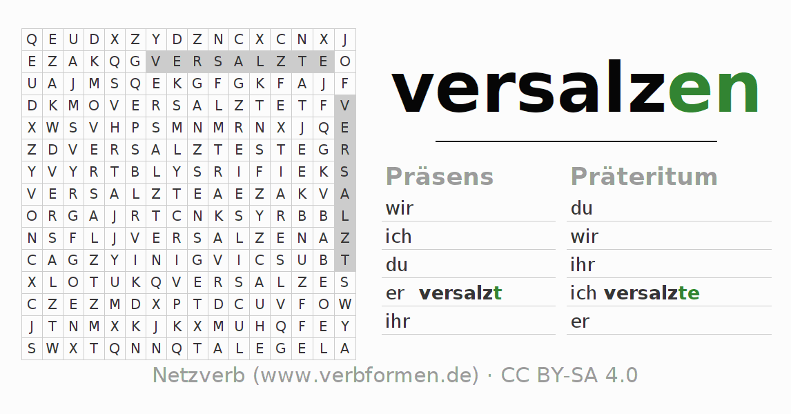Arbeitsblätter   Verb versalzen   Übungen zur Konjugation deutscher ...