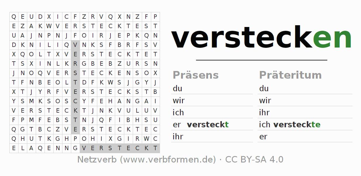 arbeitsbl tter verb verstecken bungen zur konjugation deutscher verben netzverb. Black Bedroom Furniture Sets. Home Design Ideas