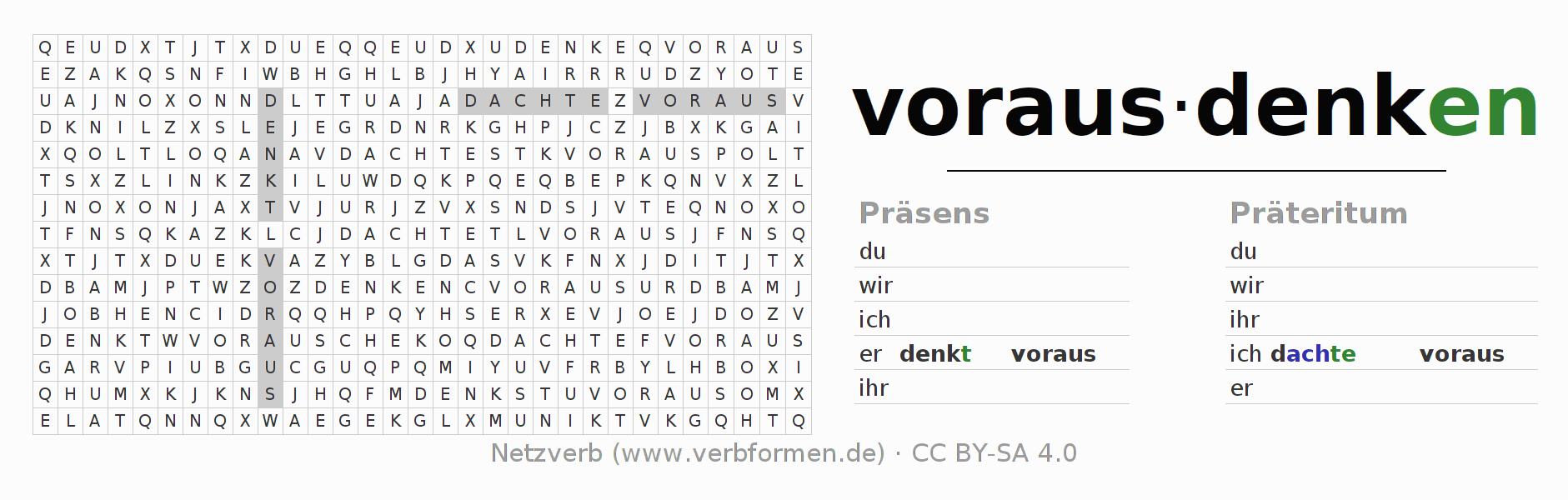Arbeitsblätter | Verb vorausdenken | Übungen zur Konjugation ...