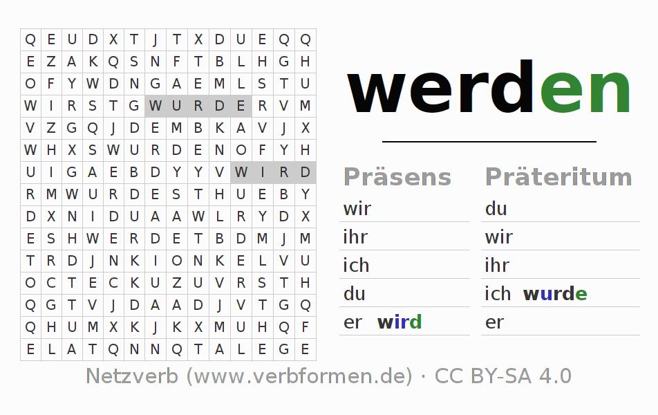 Arbeitsblätter   Verb werden   Übungen zur Konjugation deutscher ...
