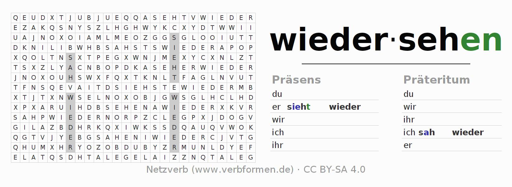 Arbeitsblätter   Verb wiedersehen   Übungen zur Konjugation ...