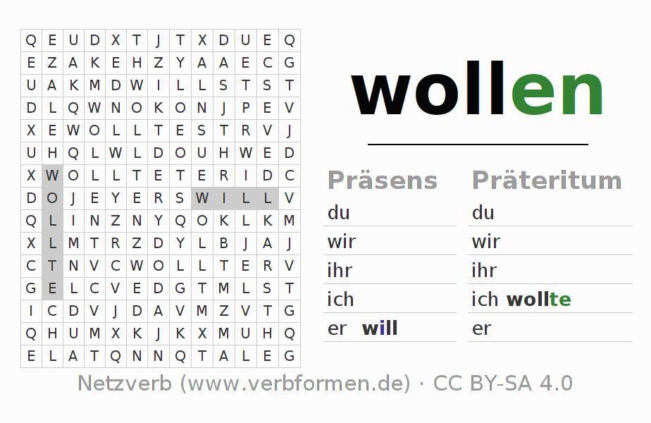 Arbeitsblätter   Verb wollen   Übungen zur Konjugation deutscher ...