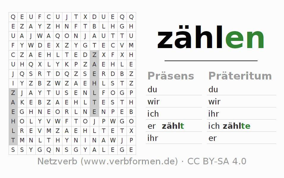 Arbeitsblätter | Verb zählen | Übungen zur Konjugation deutscher ...